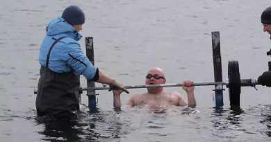 Наибольшее количество жимов штанги в ледяной воде